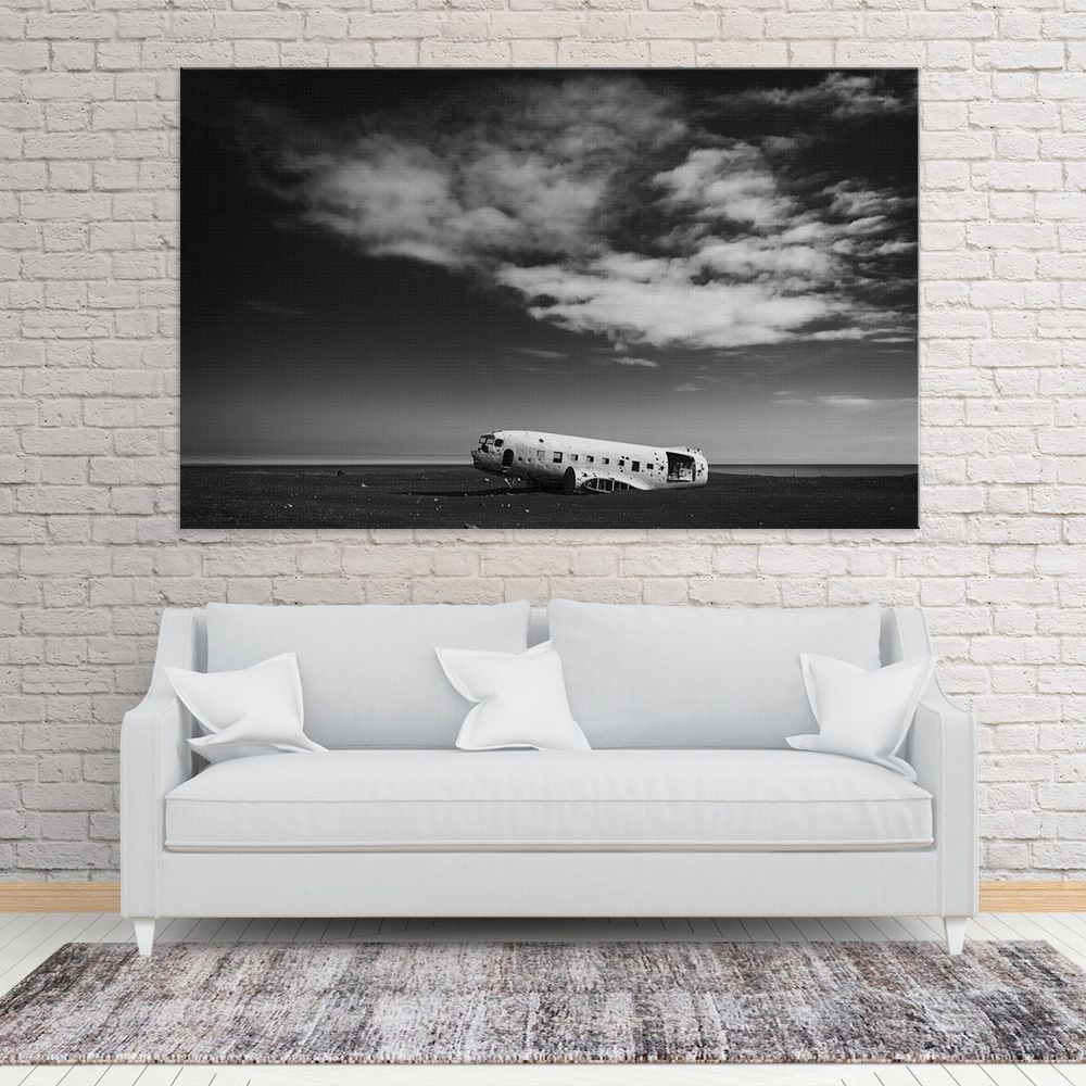 Plane wreck in Iceland, big wall art in black and white. Amazing ...