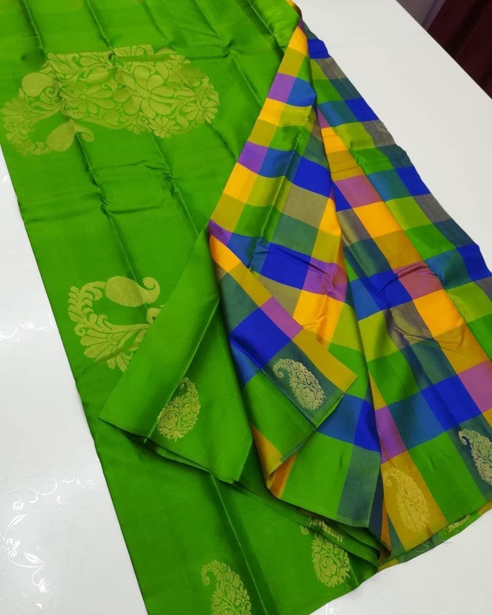 c95e7557cb Kanchipuram light weight silk sarees with checks design Price ...