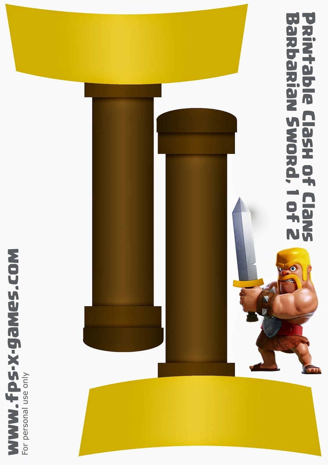 Printable Clash Of Clans Barbarian Sword Template 1 Of 2