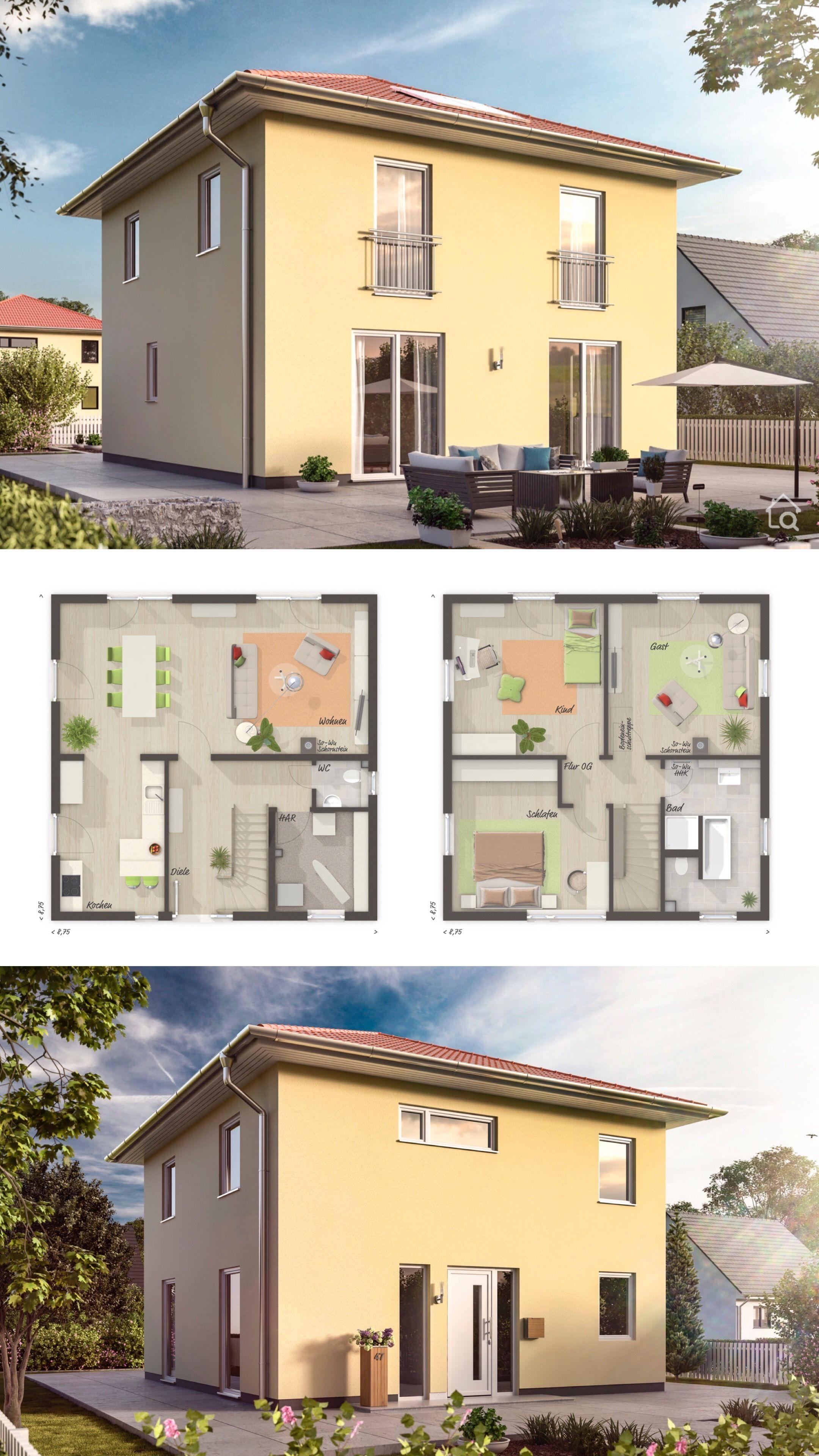 Einfamilienhaus Stadtvilla klassisch mit Putz Fassade