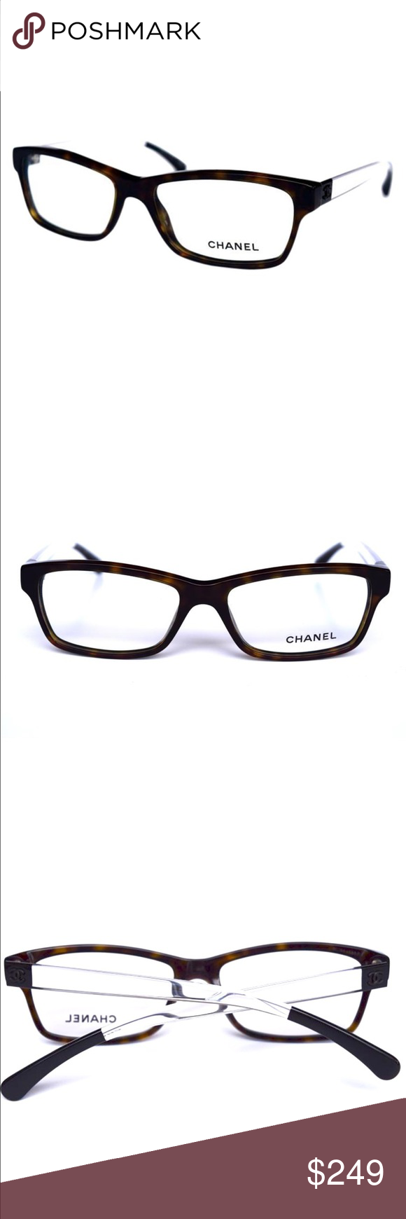 CHANEL Eyeglasses Brown with Clear Temples CHANEL Eyeglasses Brown with Clear Temples  56mm-16mm-140mm  New Without Tags!!!  Comes with original Chanel case only.  Guarantee 100% Authentic CHANEL Accessories Glasses