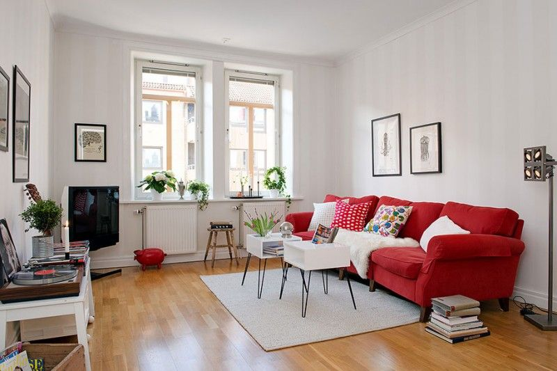 Pin On Inspiration Red Couch #red #fur #rug #for #living #room