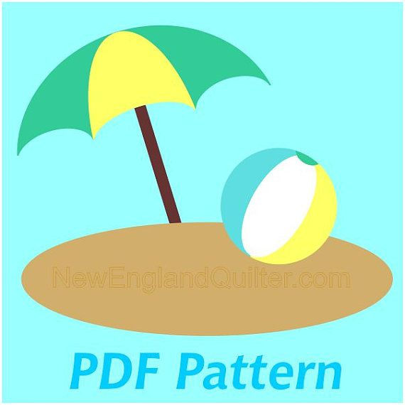 Beach Ball And Umbrella Applique Pdf Pattern By Newenglandquilter