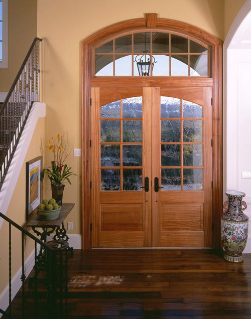 French Doors 7628 7638 With Custom Glass Shown In Sapele Mahogany View Door Detail Print