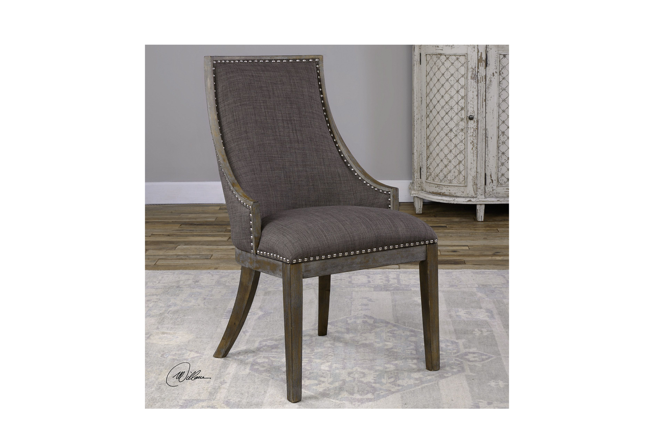 Best Aidrian Accent Chair Curved Back Design In Warm Charcoal 400 x 300