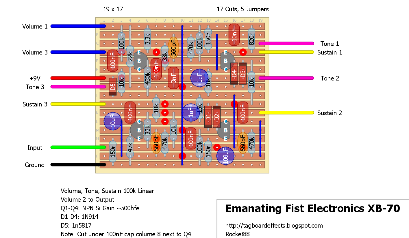 Sustain Guitar Pedal Circuit Keyboard Wiring Diagram Collection Of Vero Stripboard Tagboard Layouts 1415x825