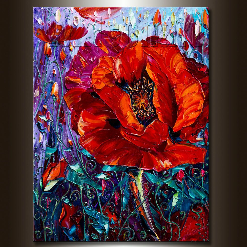 Modern Flower Canvas Oil Painting Red Poppy Poppies