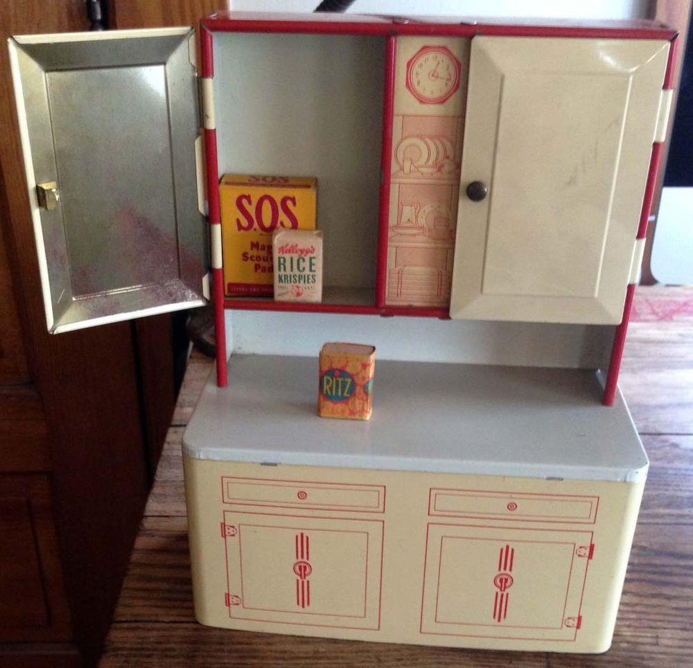 Vintage Wolverine Kitchen Cabinet Metal Play Set Groceries
