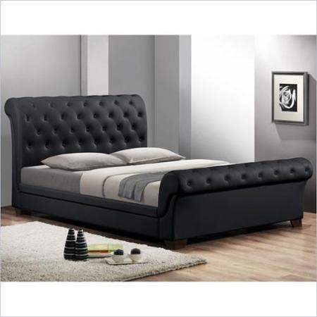 Best Baxton Studio Leighlin Sleigh Bed In Black Full Modern 400 x 300