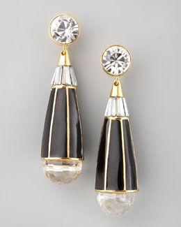 Y16JK Rachel Zoe Teardrop Earrings, Black Quartz