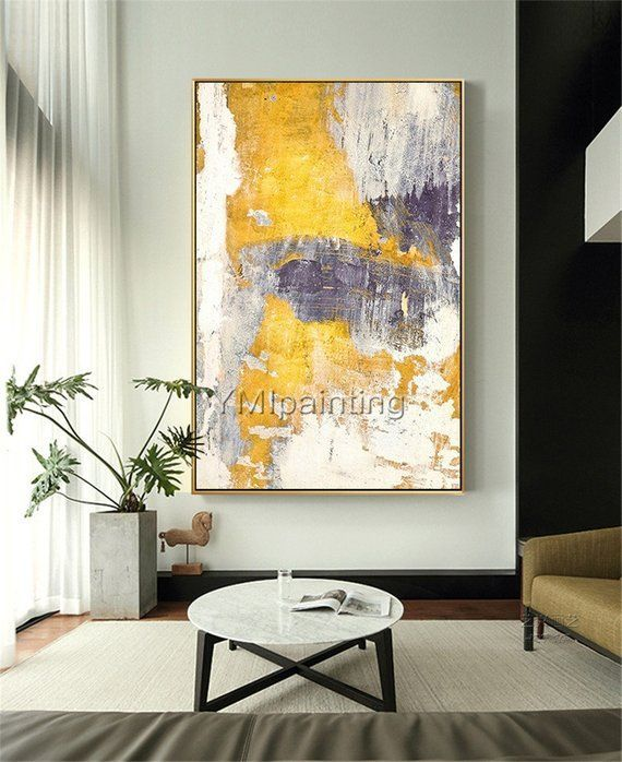 Modern Abstract modern art yellow acrylic Paintings on canvas Original extra Large wall art f Modern Abstract modern art yellow acrylic Paintings on canvas Original extra...