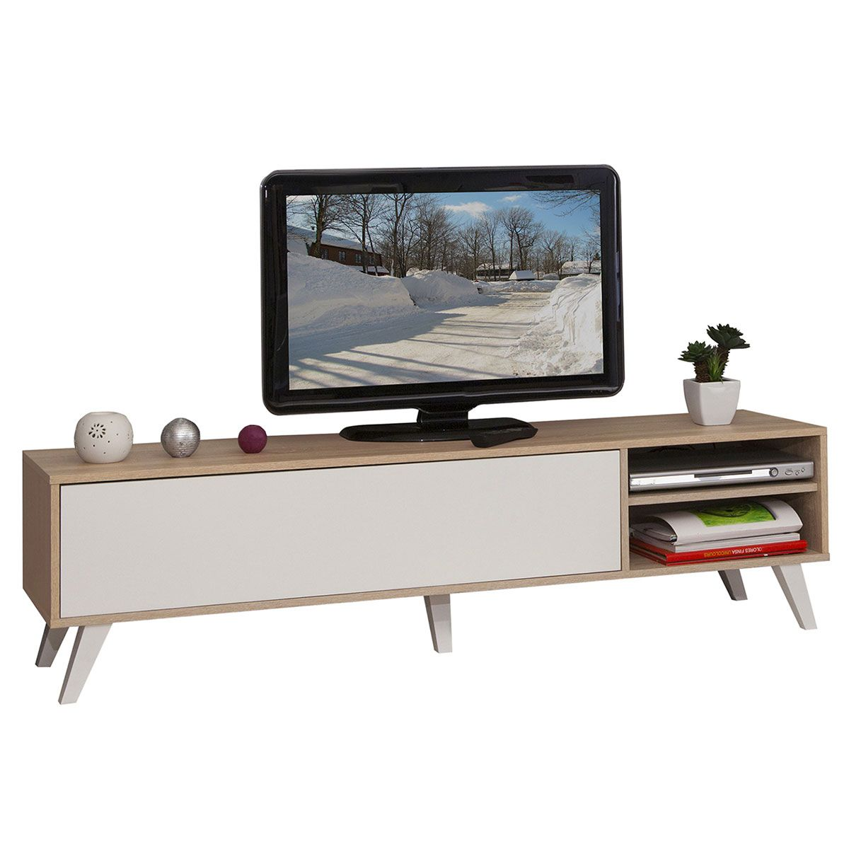 G N Rique Meuble Tv Pieds Inclin S 140 Cm Ch Ne Blanc 3170a3421a01  # Meuble Tv Sur Pied