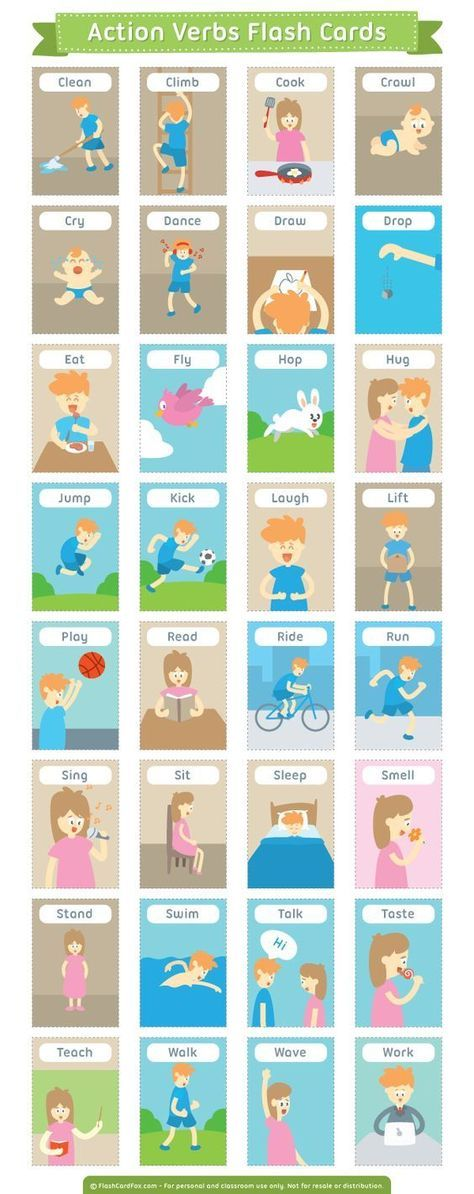 Free printable action verbs flash cards Download them in PDF - action form in pdf
