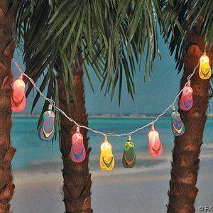 Luau Beach Ocean Wedding Tiki Luau Event Bar toom Shells STarfish Lights