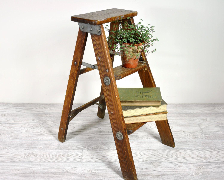 Vintage Wood Stool / Folding Stool / Industrial Decor. $58.00, via ...