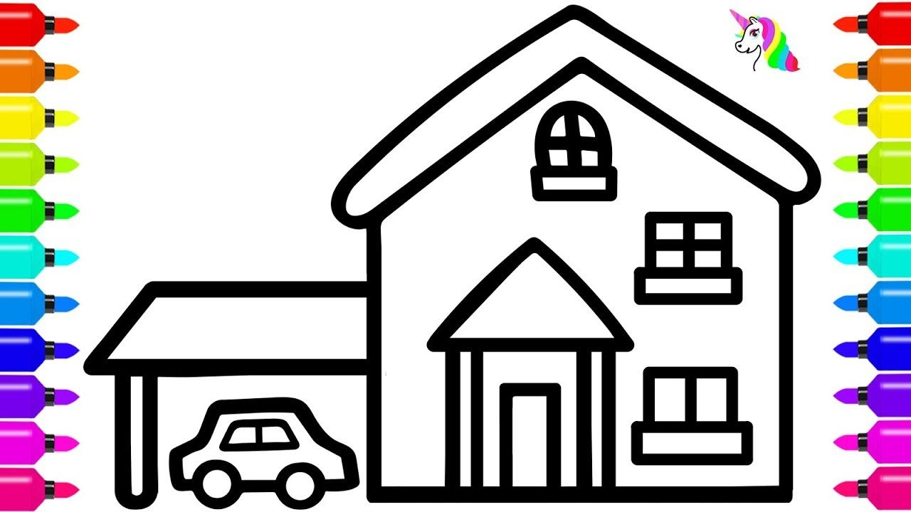 How To Draw A House With Car For Kids House Coloring Book Coloring Books Drawing For Kids Coloring Pages For Kids