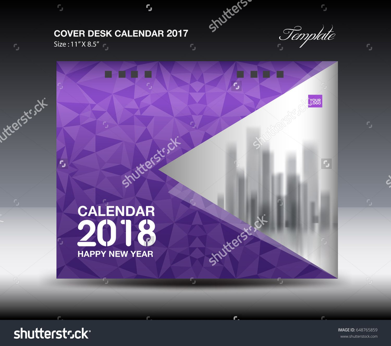 Calendar Cover 2018 : Purple cover desk calendar design polygon background