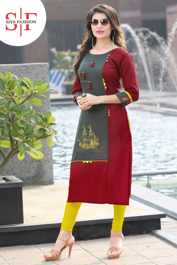 ae2375615d Siya Fashion Maroon-Grey Rayon Kurti   Suits   Kurti, Kurti neck ...