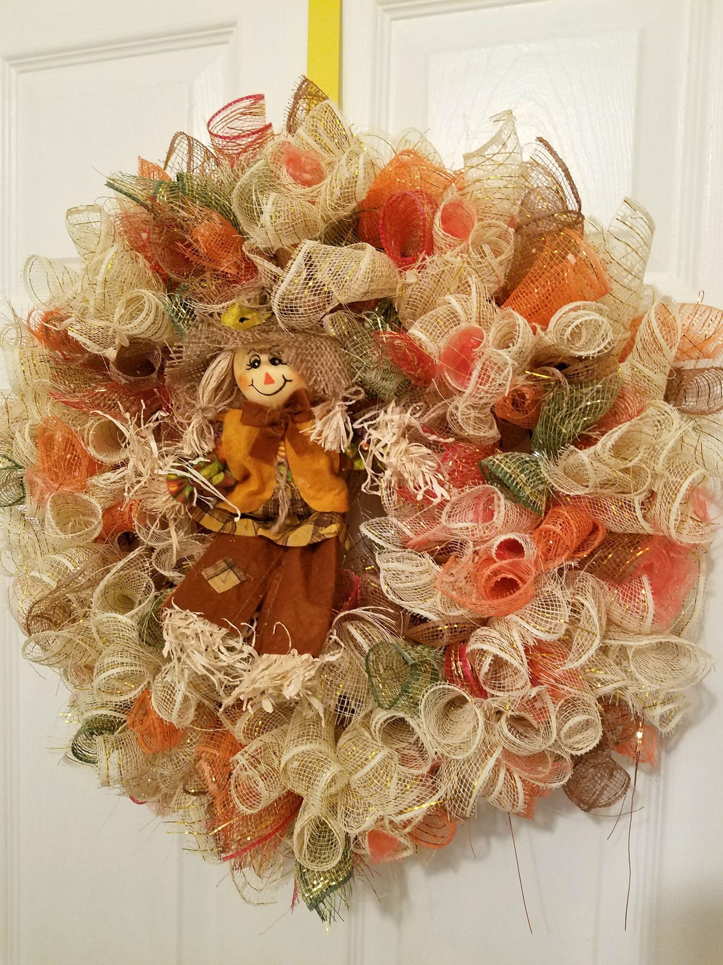 Deco Mesh Scarecrow Wreath - Fall Scarecrow Wreath - Fall