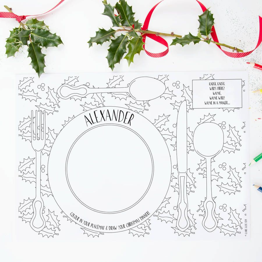 Colour In Christmas Dinner Placemats Pack Christmas Colors Christmas Placemats Personalised Placemats