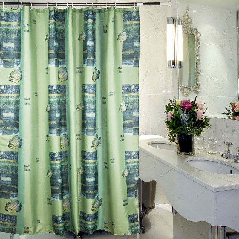 Patterned Shower Curtain In 2020 Green Shower Curtains Dark