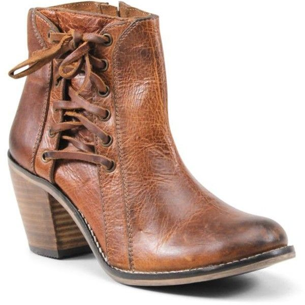 Diba True Brown Jeez Louise Ankle Boot - Women's (£145) ❤ liked on Polyvore  featuring shoes, boots, ankle booties, brown, ankle boots, lace up ankl…