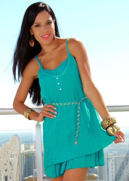 Aqua Blue Crinkle Dress with Gold Accented Belt [HOSWFABC] - $25.99 : Hooked On Sales, Your Online Store For Affordable Clothing Lingerie & Jewellery
