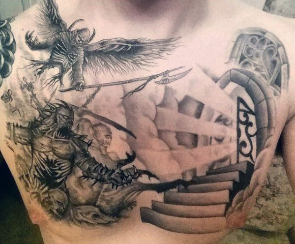 Incredible Mens Heaven And Hell Tattoos On Upper Chest ...