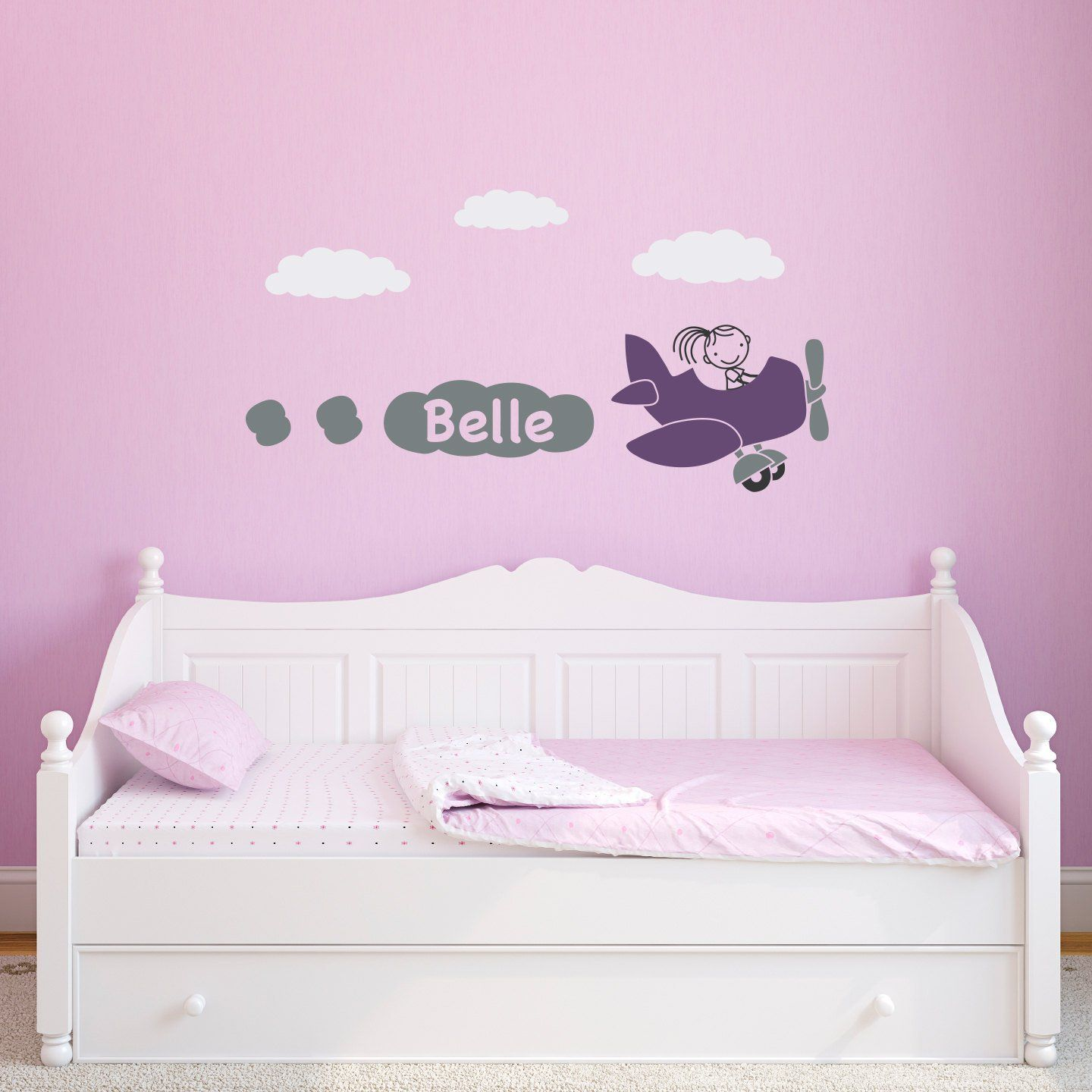 Airplane Wall Decal with Girls Personalized Name - Plane Wall Sticker - Bedroom Decal - Children & Airplane Wall Decal with Girls Personalized Name - Plane Wall ...