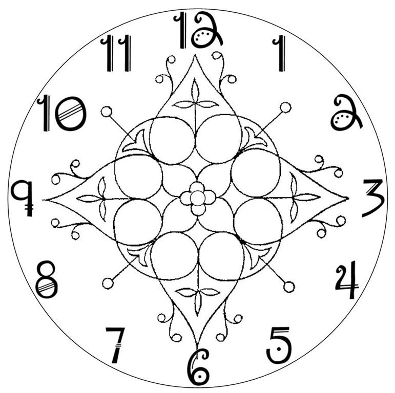 Clock Face Pattern    For My Clock Use A Bigger Or Small Hoop