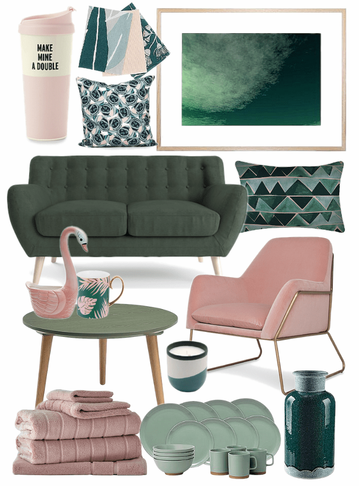 Pink And Green Decorating Ideas Mood Board On Tlc Interiors Living Room Green Green Decor Interior Design Mood Board