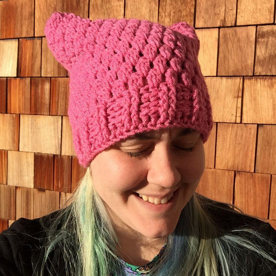 pussy hat crochet pattern, pussy knit hat pattern, cat hat pattern
