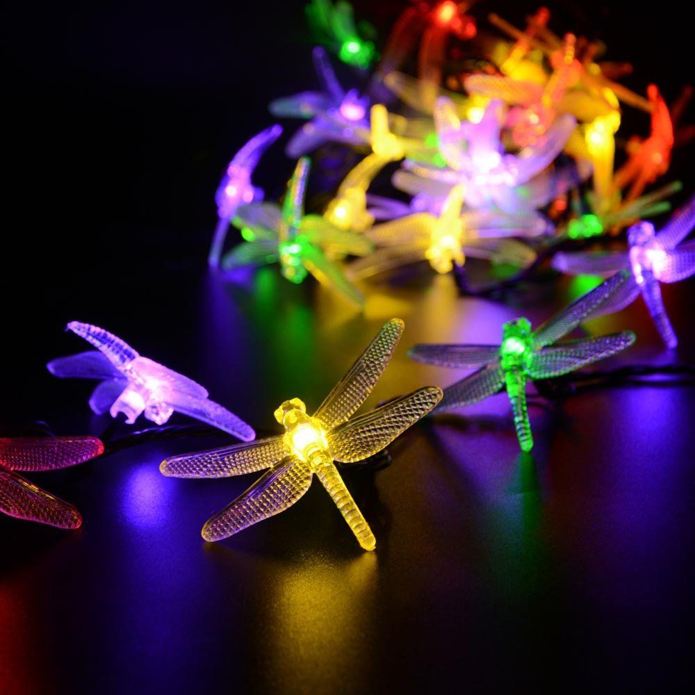LederTEK Christmas Solar Garden Lights 19.7ft 30 LED 8 Modes Multi Color  Dragonfly Fairy String