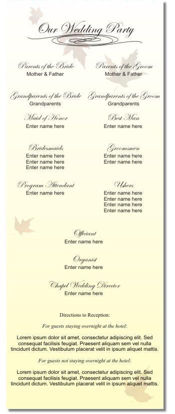 sample of wedding program Sample Wedding Program (back) - #01 i