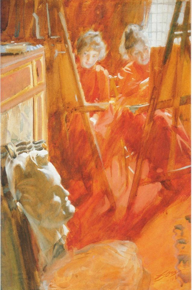 """Les Demoiselles Schwartz (1889). Anders Zorn (Swedish, 1860–1920). Oil on canvas. Louvre.   The portrait depicts two sisters peering around their easels at a bust they are drawing. Zorn is quoted, """"There they sat, in front of their easels, wearing their red dresses and drawing a head I had given them as an assignment. I immediately drew some lines on my canvas to not lose what I had found…""""  http://books0977.tumblr.com/"""