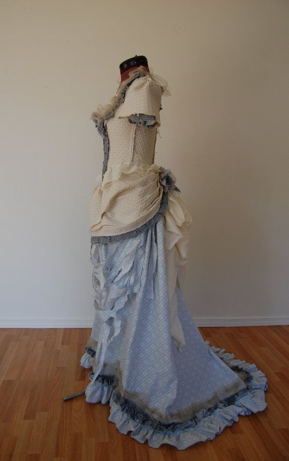 Pale blue cream and grey tattered Victorian inspired by hhfashions, $155.00