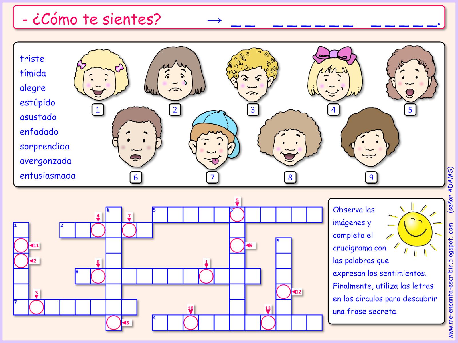 Me encanta escribir en español: ¿Cómo te sientes? (crucigrama con ...