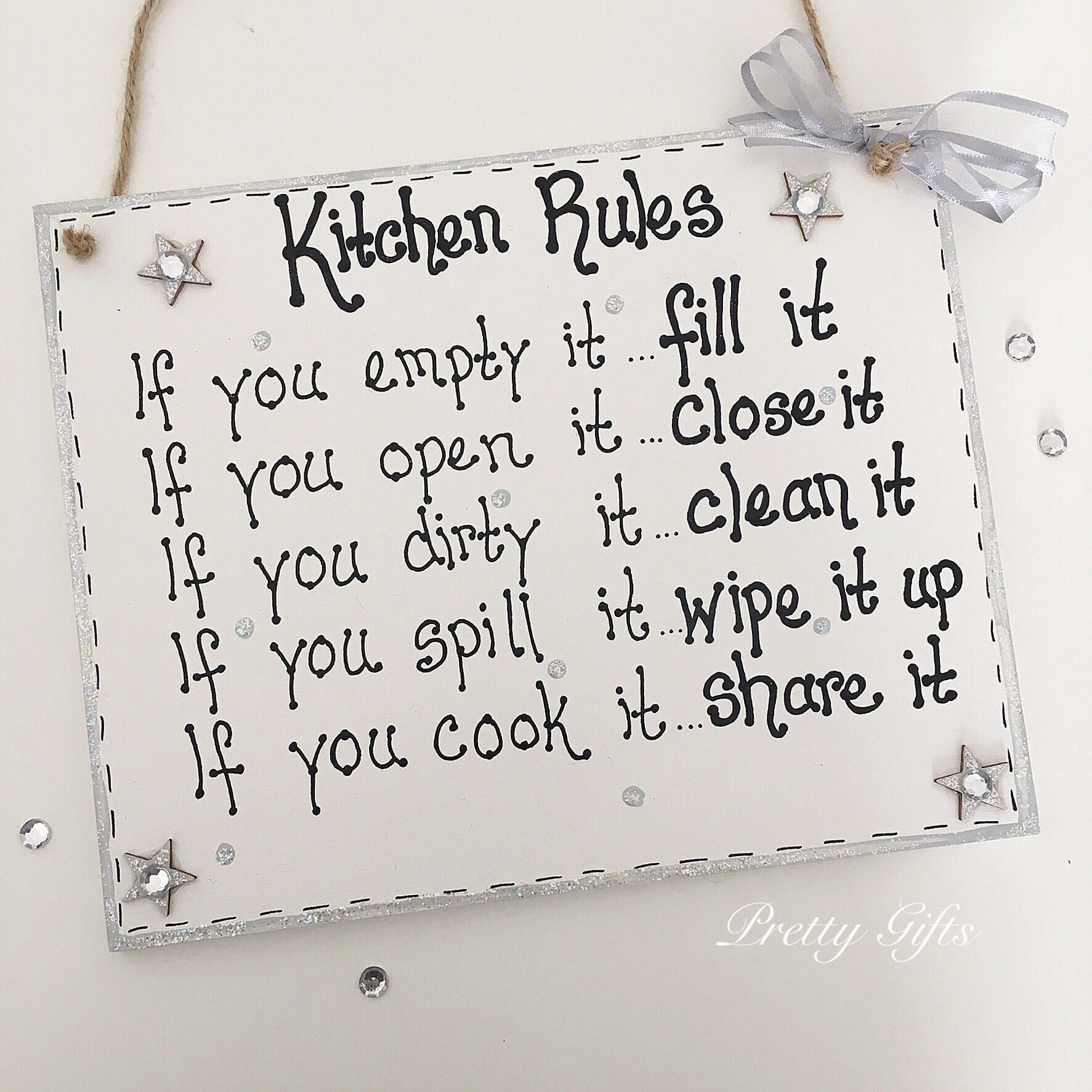 Personalised handmade handwritten kitchen rules plaque new home gift ...