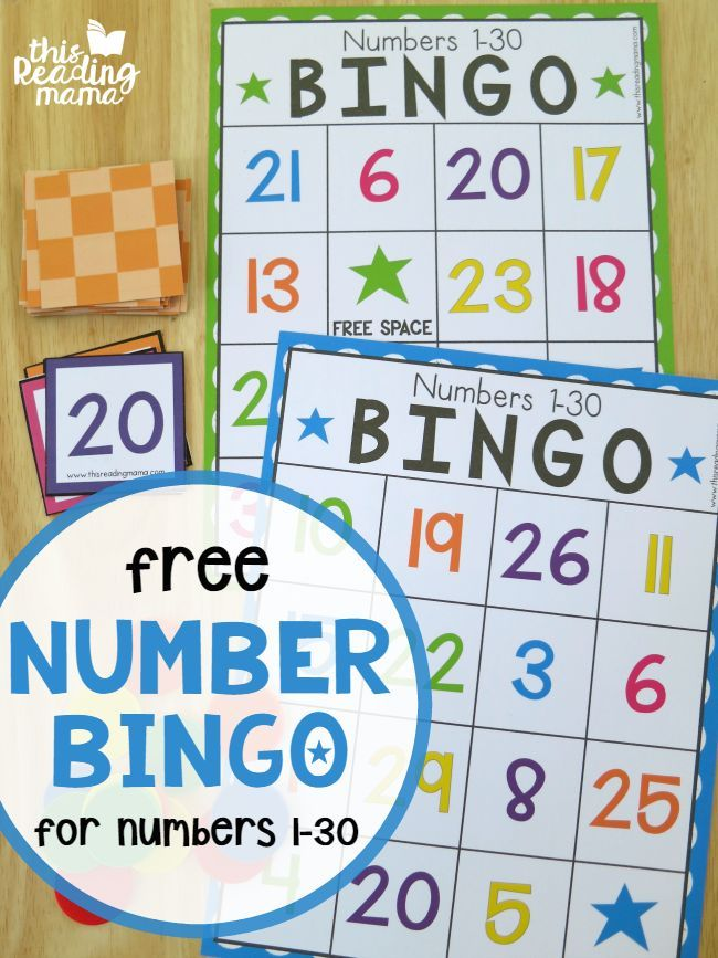 FREE Number BINGO for Numbers 1-30 | Pinterest | Number recognition ...