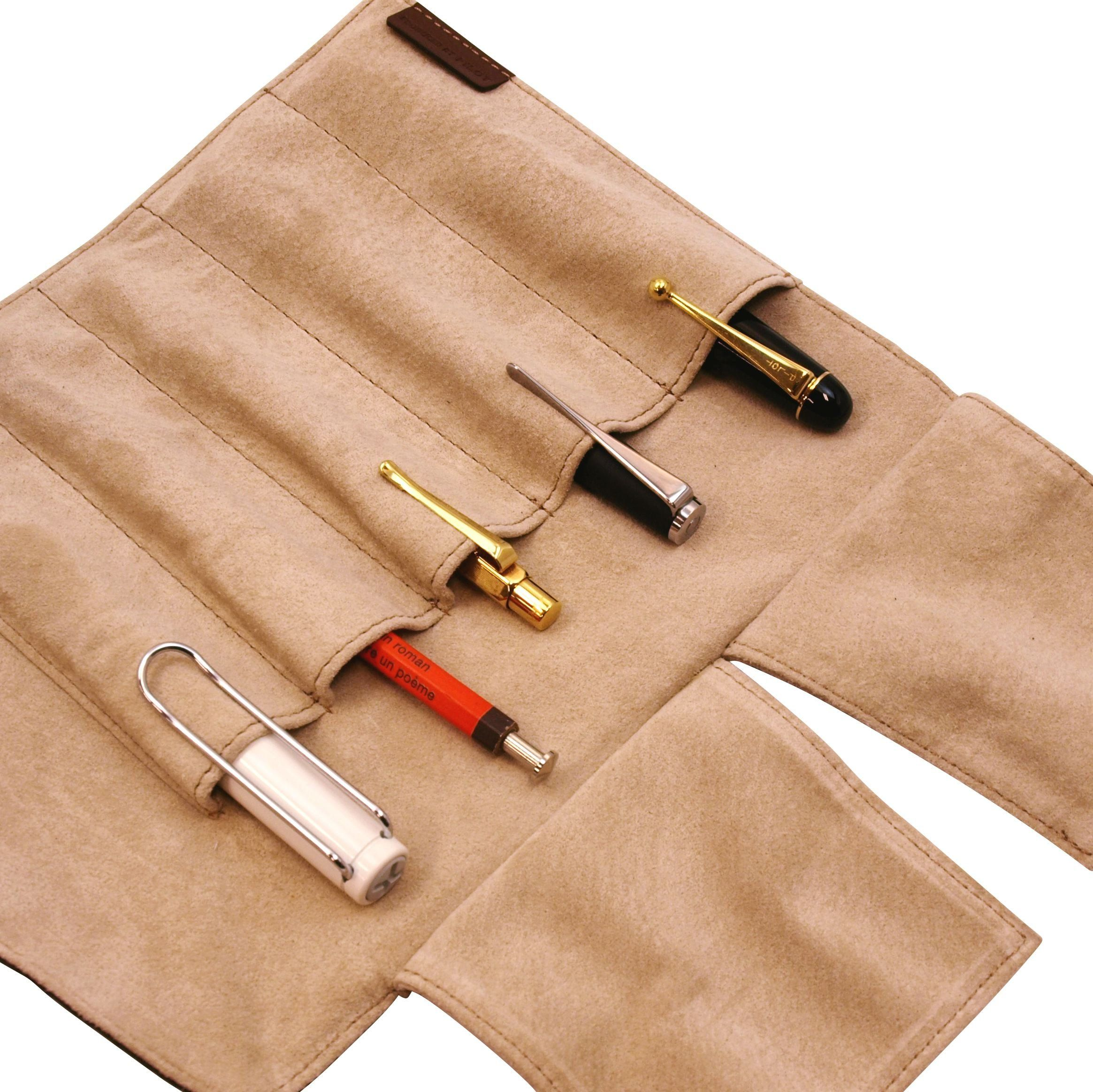 Amazon.com : Pilot Pensemble Roll Pen Case 5 Pocket Cowhide Dark Brown : Pen And Pencil Cases : Office Products