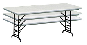 """Correll RA3060 - 30"""" x 60"""" Adjustable Height Blow Molded Plastic Folding Table 