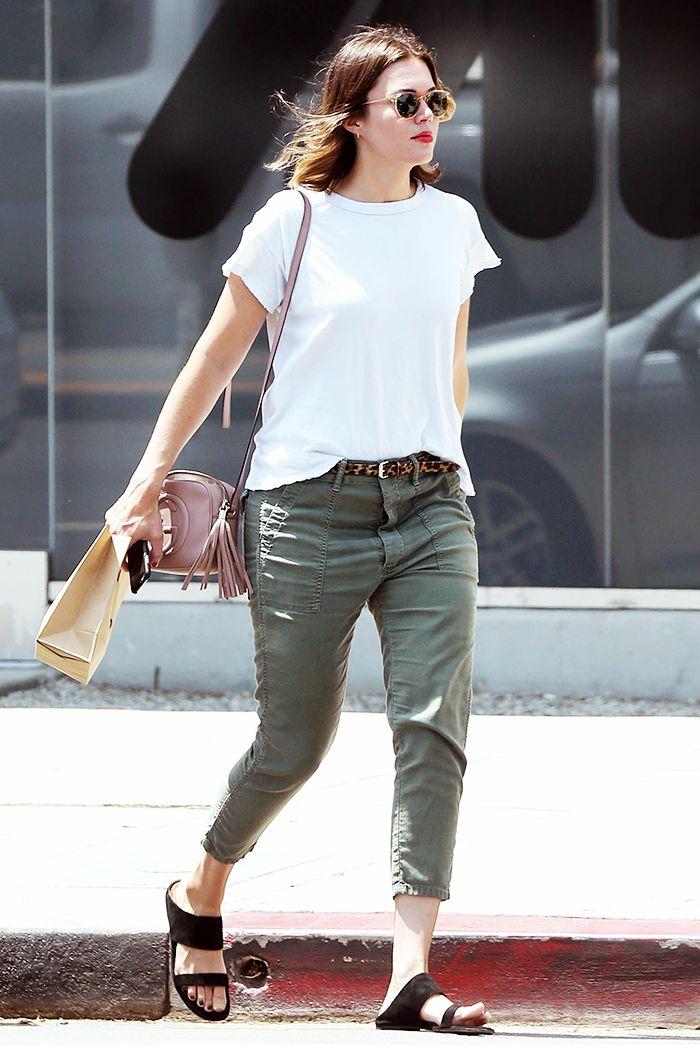 98e7399ce9e0 Mandy Moore wears a white t-shirt with cargo pants