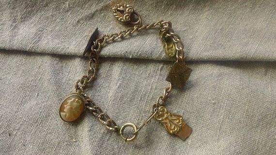 Victorian Antique Gold CHARM Bracelet by CrownofLifegems on Etsy