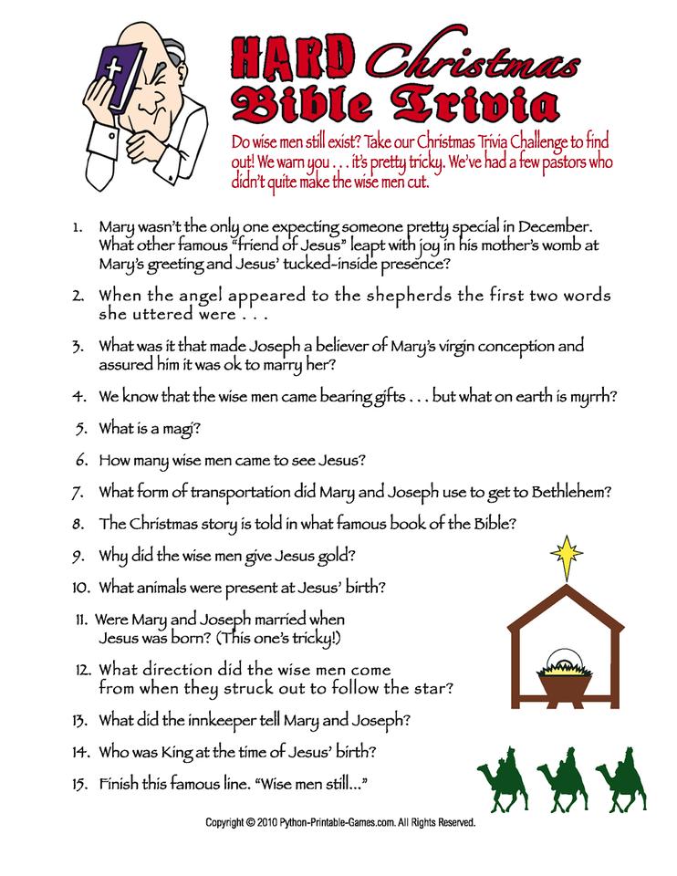 Hard Christmas Bible Trivia Printable Game Christmas Bible Printable Christmas Games Christian Christmas Games