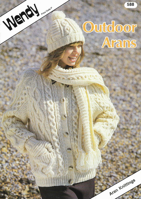 44dc93f78c31ec 9 X Aran Cardigan Aran Sweaters Knitting Pattern Ladies Men Child Waist  Coat Jumper Family Hat Wool Knitting patterns PDF Instant Download by ...