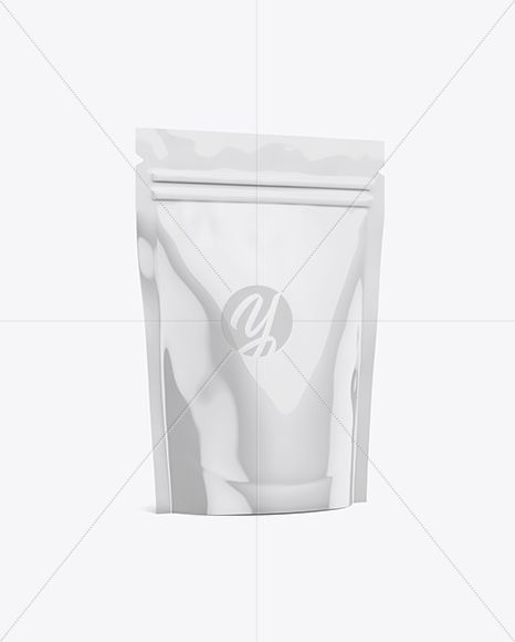 Glossy Stand-Up Pouch Mockup - Half Side View