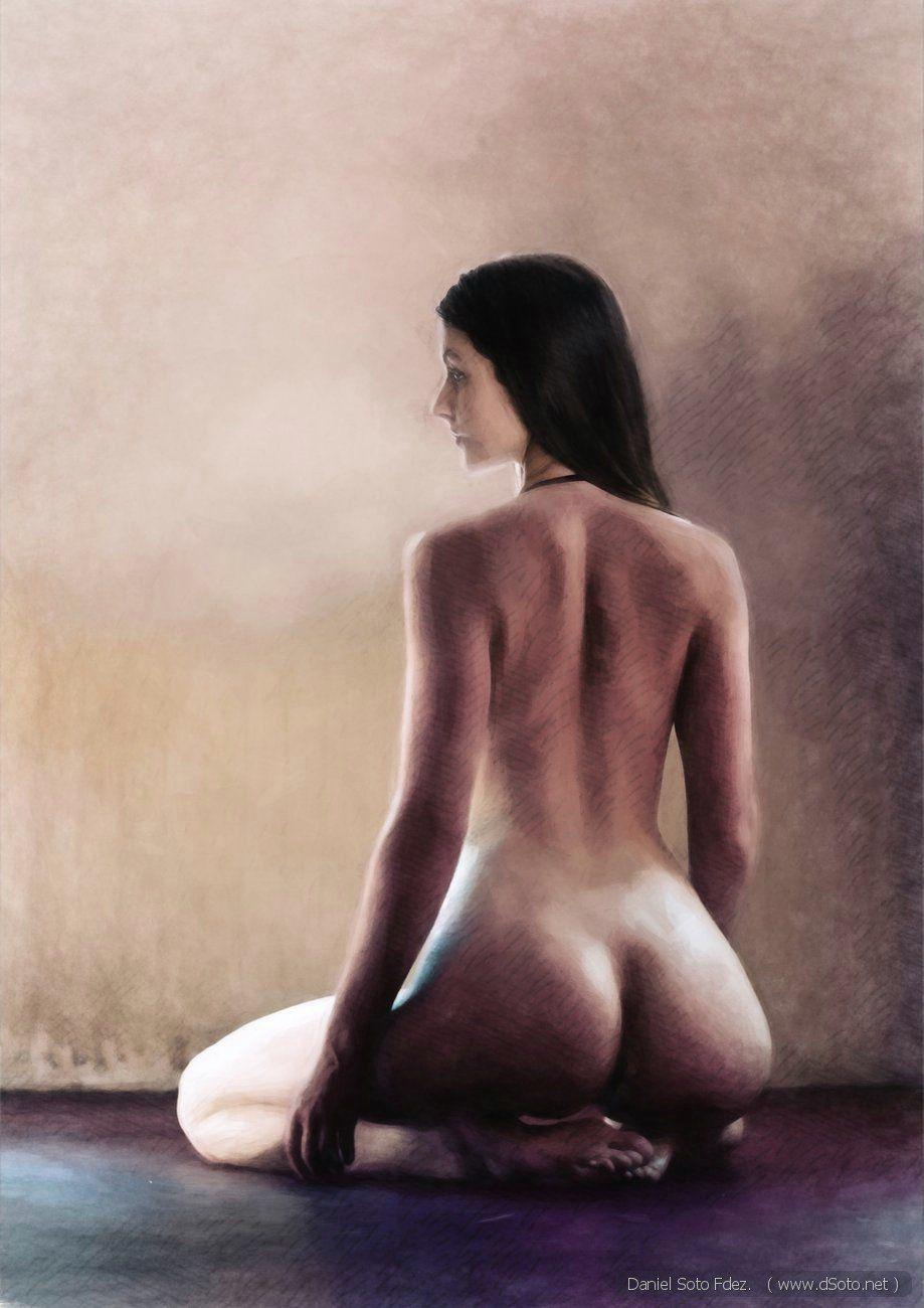 Nude model of back