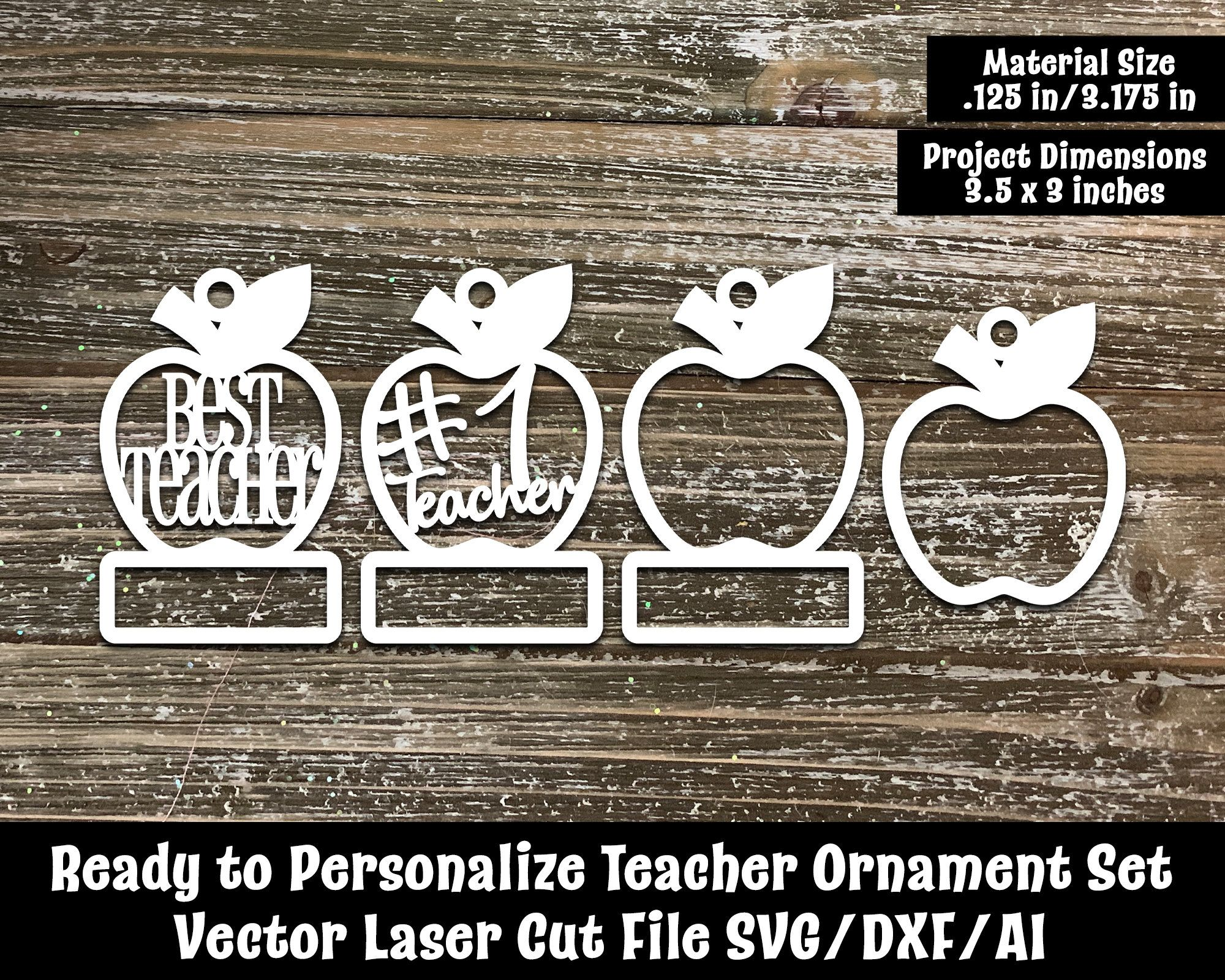 Ready to Personalize Apple Teacher Ornaments Vector Cut Files SVG/DXF/AI