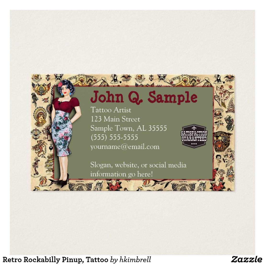 Retro Rockabilly Pinup, Tattoo Business Card | Business cards