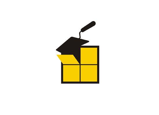 Fliesenleger  Fliesenleger Logo mit Kacheln und Spachtel | Logo Design ...